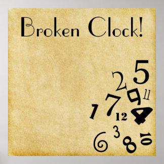 ¡Poster roto fresco del reloj! Póster