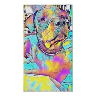 Póster Rottweiler colorido