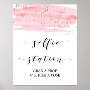 Póster Rótulo de la estación Watercolor rosa & Gold Sel