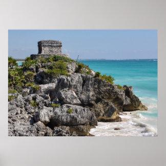 Póster Ruinas mayas en Tulum México