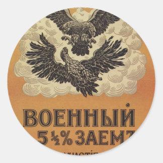 Poster ruso de la propaganda del vintage pegatina redonda