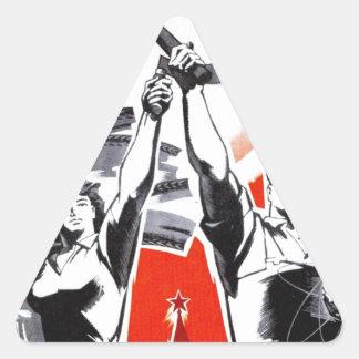Poster ruso de la propaganda del vintage pegatina de trianguladas