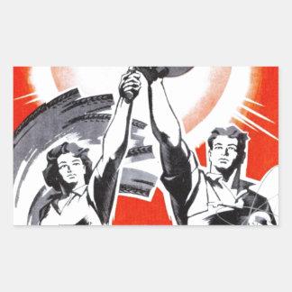 Poster ruso de la propaganda del vintage pegatina rectangular