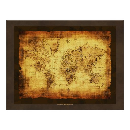 Poster rústico del mapa de Viejo Mundo del Grunge