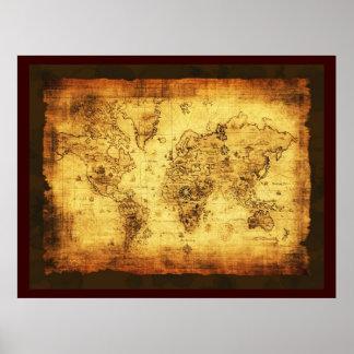 Poster rústico del mapa de Viejo Mundo (grande)