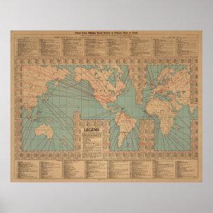 Póster Rutas y velocidades de envío del mapa del mundo