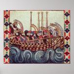 Póster Salida de un barco para las cruzadas,