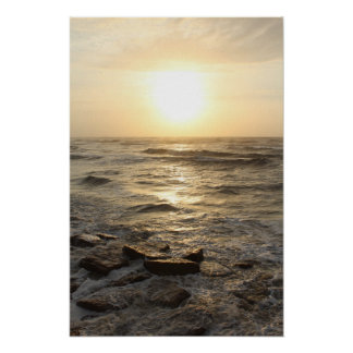 Póster Salida del sol de la línea de la playa
