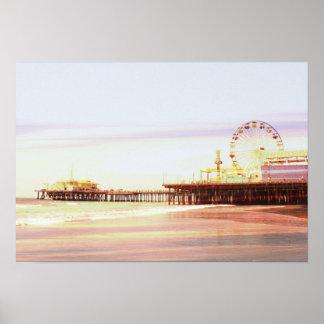 Póster Salida del sol del embarcadero de Santa Mónica