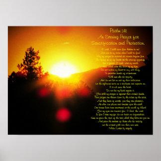 Póster Salmo 141 con puesta del sol brillante sobre las