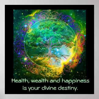 Póster Salud, riqueza y felicidad