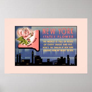 Póster Saludos del vintage de la flor de Estado de Nuevo