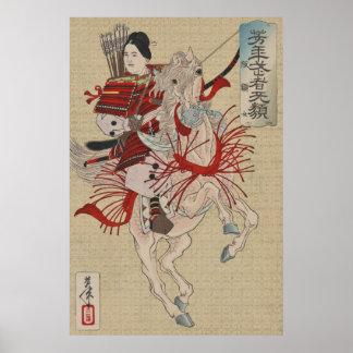 Póster Samurai de sexo femenino Hangaku Gozen del