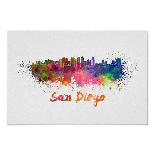 Póster San Diego skyline in watercolor