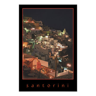 Póster Santorini por noche