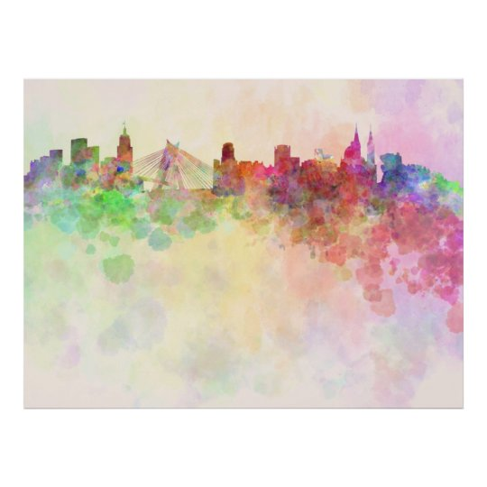 Póster Sao Paulo skyline in watercolor background
