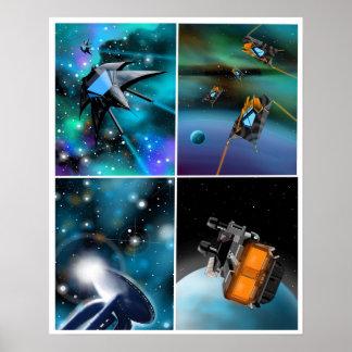 """Póster """"Scifi a través poster de la galaxia"""""""