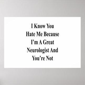 Póster Sé que usted me odia porque soy gran neurólogo