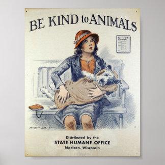 Póster Sea bueno con los animales - poster del vintage