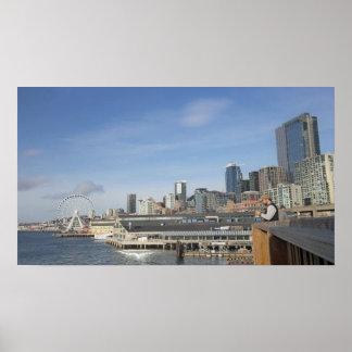 Póster Seattle por la costa