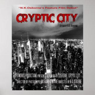 Poster secreto del concepto de la ciudad