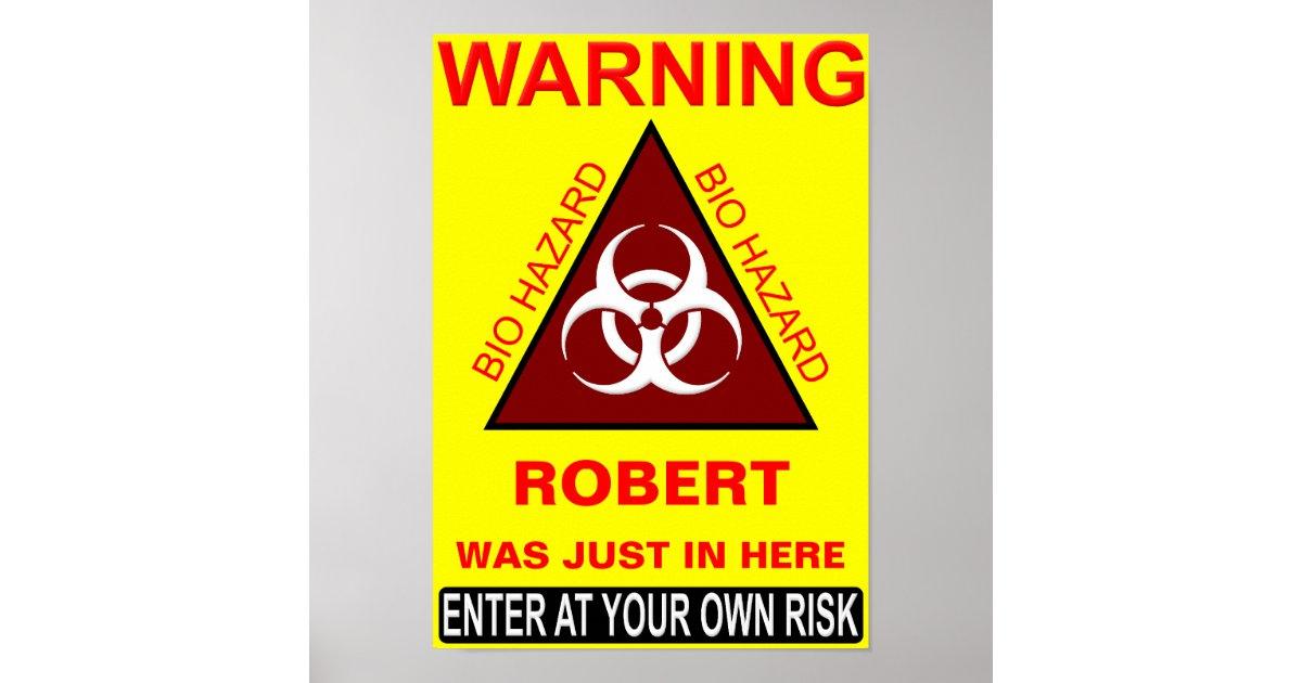 Póster (Señal de peligro del cuarto de baño del nombre ...