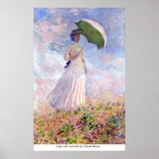 Póster Señora con el paraguas de Claude Monet