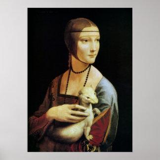 Póster Señora con un armiño de Leonardo da Vinci
