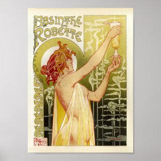 Póster Señora francesa de Robette del ajenjo de la