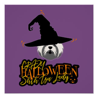 Póster Señora loca Shih Tzu Mom de Halloween Shih Tzu