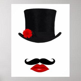 Póster Señora With Mustache del sombrero de copa de la