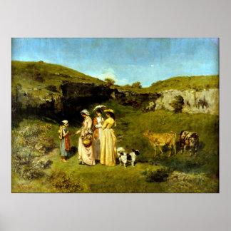 Póster Señoras jovenes de Gustave Courbet del pueblo