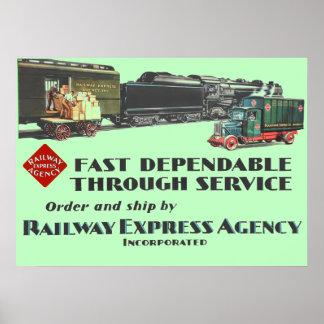 Póster Servicio confiable rápido expreso del ferrocarril