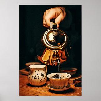 Póster Servicio de té con la caldera de cobre