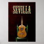 Póster SEVILLA. Guitarra flamenca con Giralda de Sevilla.