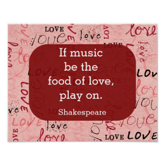 Póster Si la música sea la cita de comida-Shakespeare -