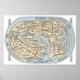 Póster Siglo II del MAPA DEL MUNDO