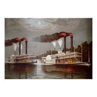 Póster Siglo XIX de la raza de los vapores de los