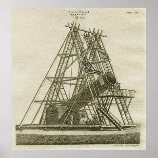 Póster Siglo XVIII del telescopio de 40 pies de Guillermo