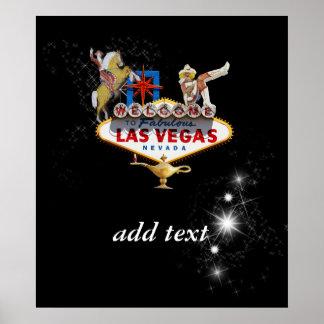 Póster Signo positivo de Las Vegas en fondo estrellado