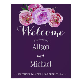 Póster Signo positivo elegante floral violeta del boda