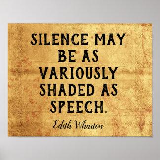 Póster Silencio  -- Cita de Edith Wharton del _de la