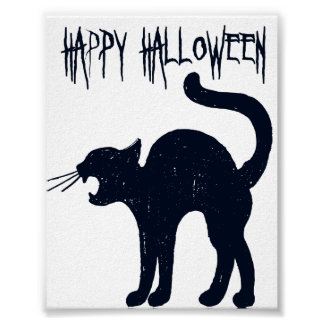 Póster Silueta del gato negro de Halloween
