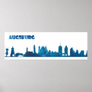 Póster Silueta del horizonte de Augsburg Alemania