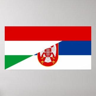 Póster símbolo del país de la bandera de Hungría Serbia