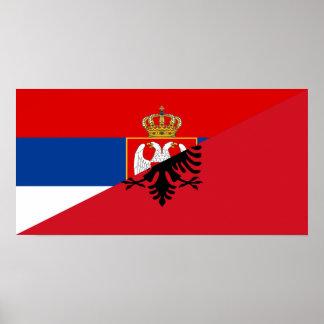 Póster símbolo del país de la bandera de Serbia Albania