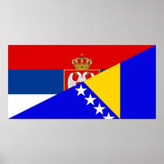 Póster símbolo del país de la bandera de Serbia Bosnia y