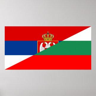 Póster símbolo del país de la bandera de Serbia Bulgaria