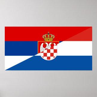 Póster símbolo del país de la bandera de Serbia Croacia