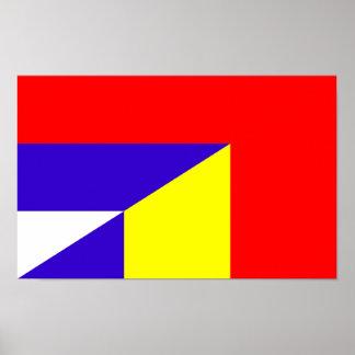 Póster símbolo del país de la bandera de Serbia Rumania